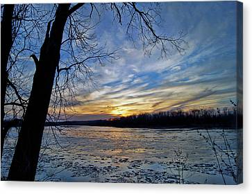 Canvas Print featuring the photograph Icy River by Cricket Hackmann