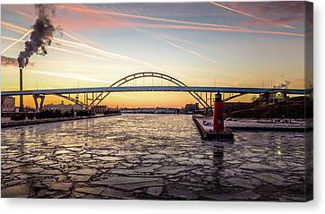 Canvas Print featuring the photograph Icy River Sunset by Randy Scherkenbach