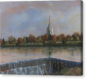 Idaho Falls Temple Canvas Print by Jeff Brimley