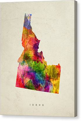 Idaho State Map 02 Canvas Print by Aged Pixel
