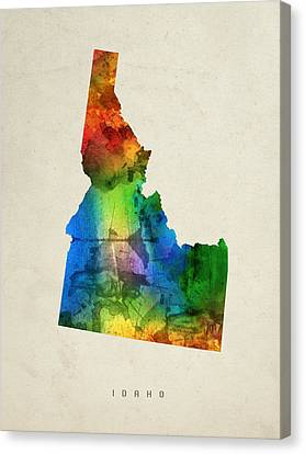 Idaho State Map 03 Canvas Print by Aged Pixel