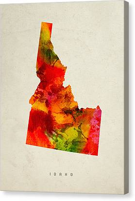 Idaho State Map 04 Canvas Print by Aged Pixel