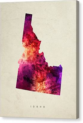Idaho State Map 05 Canvas Print by Aged Pixel