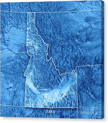 Canvas Print - Idaho State Usa 3d Render Topographic Map Blue Border by Frank Ramspott