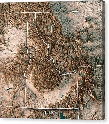 Canvas Print - Idaho State Usa 3d Render Topographic Map Neutral Border by Frank Ramspott