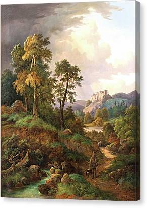 Ideal Landscape With Hunters And Ruins In The Valley Canvas Print by MotionAge Designs