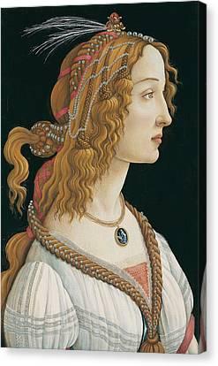 Idealized Portrait Of A Lady Canvas Print by Sandro Botticelli