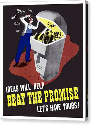 Canvas Print featuring the digital art Ideas Will Help Beat The Promise by War Is Hell Store