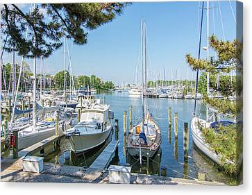 Canvas Print featuring the photograph Idle Boats by Charles Kraus