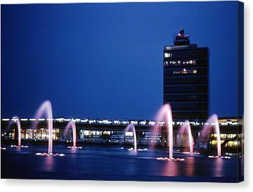 Canvas Print featuring the photograph Idlewild Fountain And Tower by John Schneider