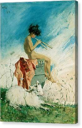 Youthful Canvas Print - Idyll by Mariano Fortuny y Marsal