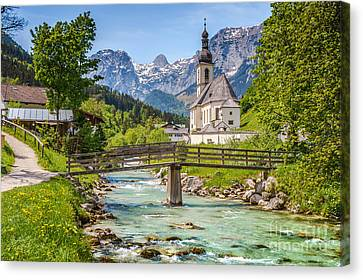 Idyllic Church In The Alps Canvas Print by JR Photography