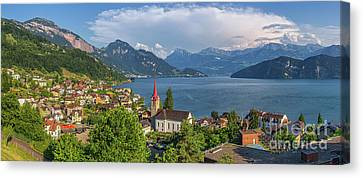 Idyllic Swiss Mountain Lake Scenery Canvas Print
