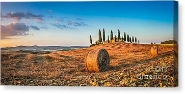 Idyllic Tuscany Landscape At Sunset Canvas Print by JR Photography