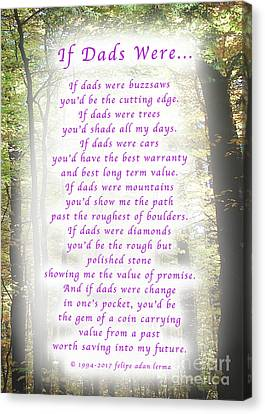 If Dads Were Greeting Card And Poster Canvas Print by Felipe Adan Lerma