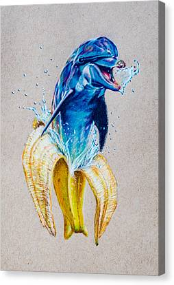 Childlike Canvas Print - If Dolphins Came From Banana Peels by Brian Owens