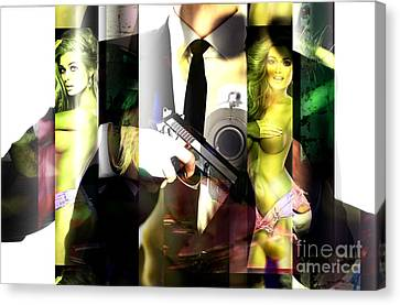 Black Tie Canvas Print - If Looks Could Kill by John Rizzuto