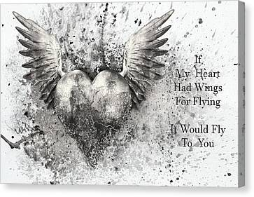 If My Heart Had Wings For Flying Black White Silver Canvas Print