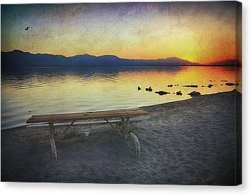 Picnic Table Canvas Print - If Only I Knew Then by Laurie Search