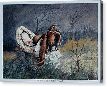 If Saddles Could Talk Canvas Print by Bob Hallmark