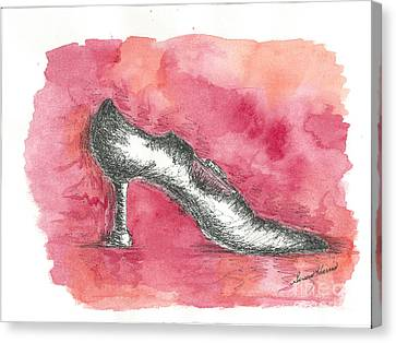 Watercolor With Pen Canvas Print - If The Shoe Fits by Susan Harris