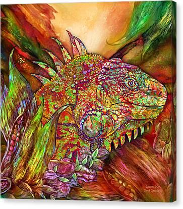 Curtains Canvas Print - Iguana Hot by Carol Cavalaris
