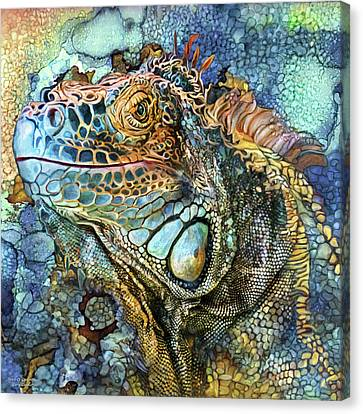 Canvas Print featuring the mixed media Iguana - Spirit Of Contentment by Carol Cavalaris