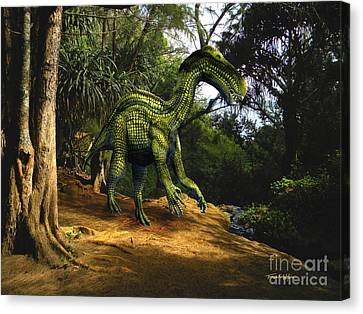 Iguanodon In The Jungle Canvas Print by Frank Wilson