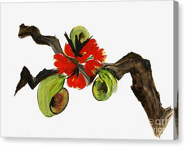Ikebana - Red N Green Canvas Print by Sibby S