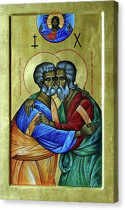 Canvas Print featuring the photograph Ikon Sts. Peter And Andrew by John Schneider