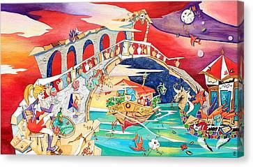 Il Battello Dei Sogni - Ponte Di Rialto Canvas Print by Arte Venezia