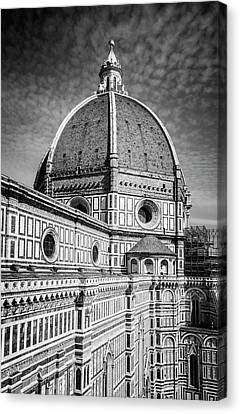 Canvas Print featuring the photograph Il Duomo Florence Italy Bw by Joan Carroll