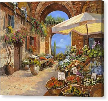 Il Mercato Del Lago Canvas Print by Guido Borelli
