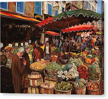 Il Mercato Di Quartiere Canvas Print by Guido Borelli