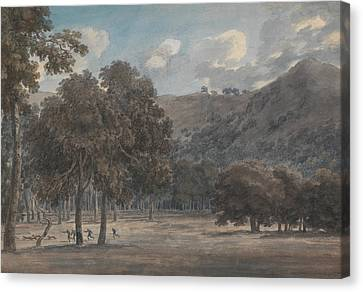 Il Parco Degli Astroni - The Wooded Crater Bottom With Hunt In Progress Canvas Print by John Robert Cozens