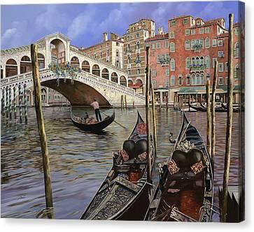 Gondolas Canvas Print - Il Ponte Di Rialto by Guido Borelli