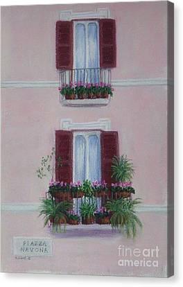 Il Terrazo In Roma  Piazza Navona Canvas Print by Mary Erbert