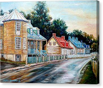 Ile D'orleans Quebec Street Scene Canvas Print by Carole Spandau
