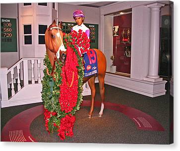 I'll Have Another - Statue In The Kentucky Derby Museum Canvas Print by Marian Bell