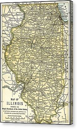 Illinois Antique Map 1891 Canvas Print by Phil Cardamone