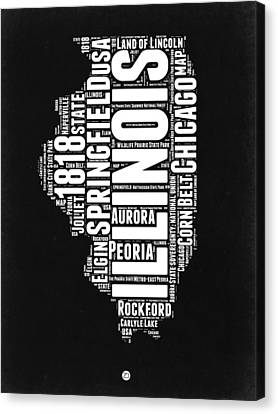 Illinois Black And White Word Cloud Map  Canvas Print by Naxart Studio