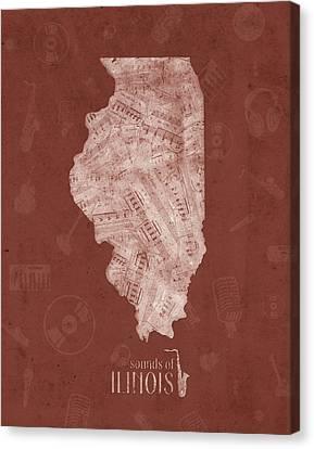 University Of Illinois Canvas Print - Illinois Map Music Notes 5 by Bekim Art