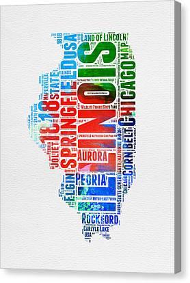 Illinois Watercolor Word Cloud Map  Canvas Print by Naxart Studio