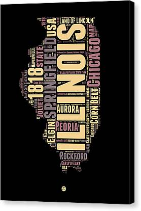 Illinois Word Cloud Map 1 Canvas Print by Naxart Studio