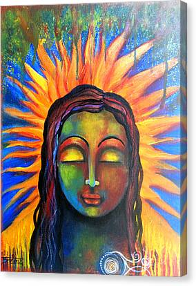 Canvas Print featuring the mixed media Illuminated By Her Own Radiant Self by Prerna Poojara