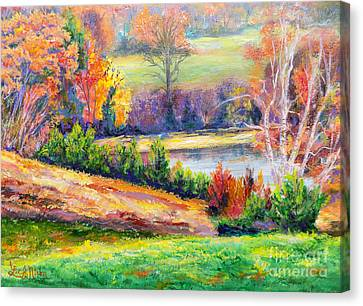 Canvas Print featuring the painting Illuminating Colors Of Fall by Lee Nixon