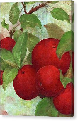 Canvas Print featuring the painting Illustrated Apples by Judith Cheng
