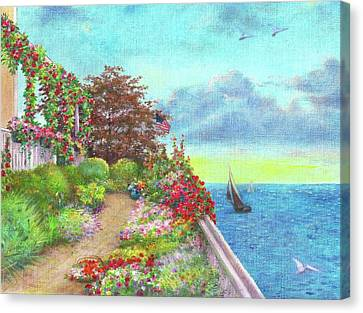 Canvas Print featuring the painting Illustrated Beach Cottage Water's Edge by Judith Cheng