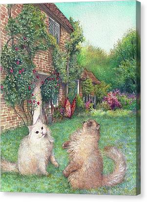 Illustrated Cats In English Cottage Garden Canvas Print