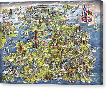 Amesbury Canvas Print - Illustrated Map Of The United Kingdom by Maria Rabinky